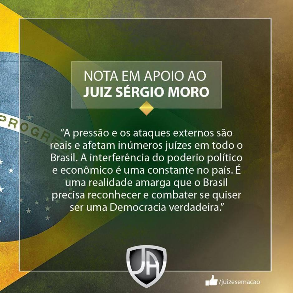 NOTA APOIO SÉRGIO MOROS